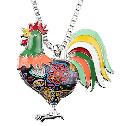 BONSNY Enamel Metal Farm Lover Chicken Rooster Necklace Pendant Fashion Jewelry for Women Gift (Green)