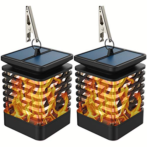 Gold Armour 2 Pack Solar Lights Outdoor - Flickering Flames Torch Solar Path Light - Dancing Flame Lighting 96 LED Dusk to Dawn Flickering Tiki Torches Outdoor Waterproof Garden (2 Pack Lantern)