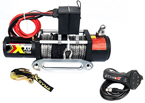 (17000lbs Waterproof Winch with Adjust Torque Limited Protector, 6.6HP Motor, Intelligent Remote Handle Showing Load Red Warning,100% Engaged Stainless Clutch, Synthetic Rope, Used to SUV Jeep Track)