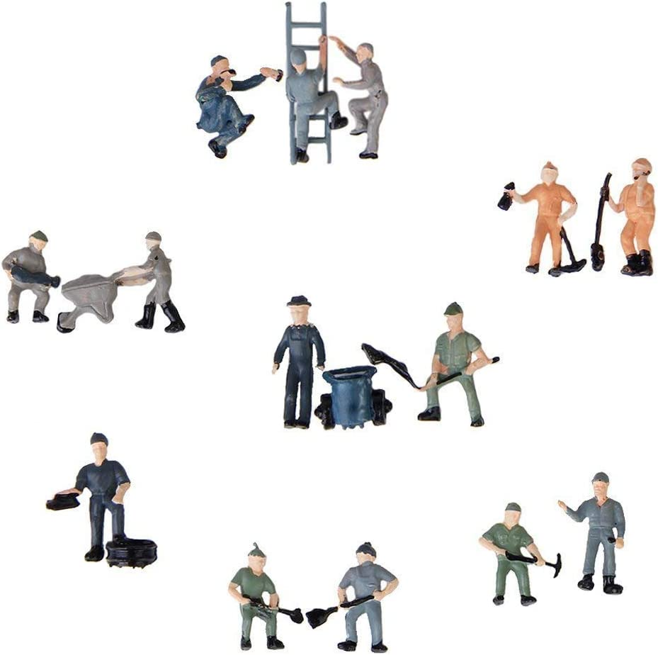 87 Figure Miniatures Railway Workers Buckets and Ladders Convenient Ogquaton Premium Popularity 25 Pieces 1