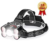 STCT Street Cat 5000 Lumens Headlamp Flashlight, Rechargeable Headlamp, 4 Working Modes LED Headlamp, Headlight Waterproof 18650 Batteries Reading Hunting Hiking Camping (5000 LM with Reading Light)