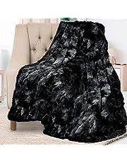 Everlasting Comfort Luxe deken van imitatiebont, super zacht, pluizig, warm, gezellig, pluche, fuzzy, dik, groot - voor bank, bank, woonkamer of bed, herfst- en winteraccessoires - 127x165 cm (zwart)