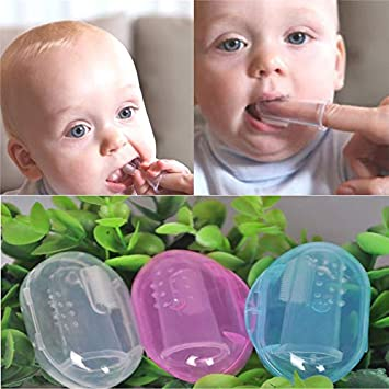 Kids Baby Infant Soft Silicone Finger Toothbrush Teeth Rubber Massager Brush FO