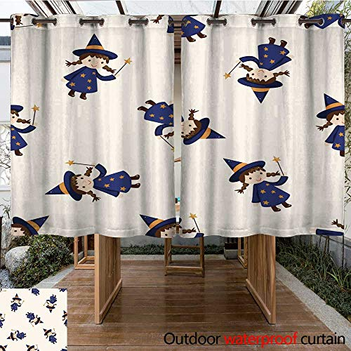 RenteriaDecor Outdoor Curtains for Patio Sheer Halloween Party Costume Cartoon Seamless Pattern Background W96 x L72 ()