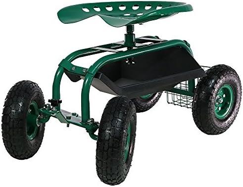 Sunnydaze Rolling Shopカートwithステアリングハンドル、回転Seat &ツールバスケット–複数の色 QH-SCRS022-GN