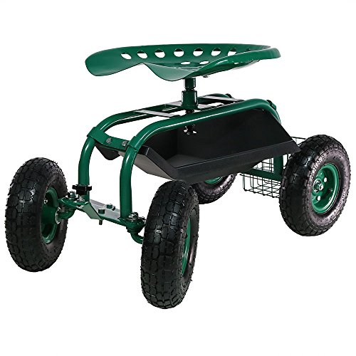 - Sunnydaze Rolling Garden Cart Scooter with Wheels, 360 Swivel Seat, and Utility Tool Storage Basket, Green