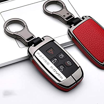 ontto Compatible with Land Rover Key Fob Cover Keyless Prevent Scratches Metal Leather Key Protector Skin Shell Keychain Fit for Range Rover Sport Dsicovery LR4 Red: Automotive
