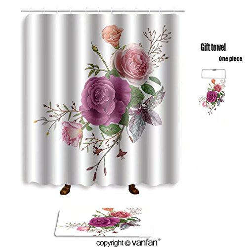 Vanfan Bath Sets With Polyester Rugs And Shower Curtain Illustration Of Beautiful Flower On White Bac
