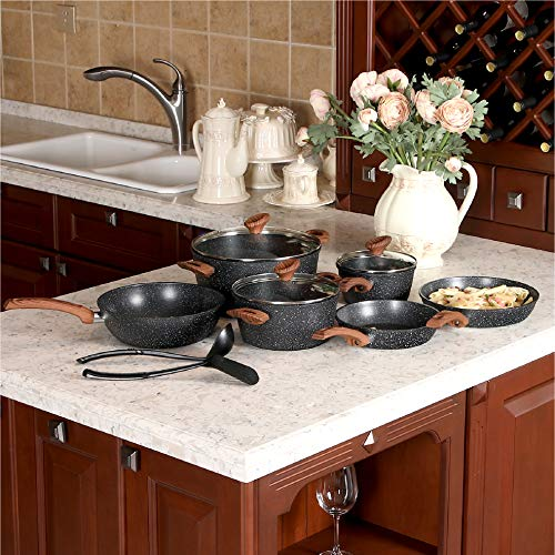 12 Piece Nonstick Granite-Coated Cookware Set Suitable for All Stove Including Induction - Bakelite Handle With Wood Effect (Soft Touch)