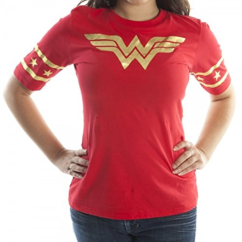 Wonder+Woman+Shirts Products : Wonder Woman Red Hockey Style Women's Junior T-shirt M