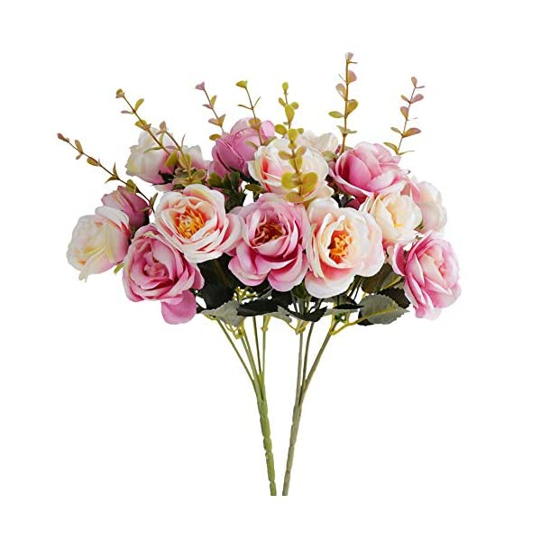 Kiss Garden Artificial Silk Flowers Rose – Pack of 2 Home Wedding Bouquet Décor – Fake Flowers for Office Table, Room Decoration, Party, Centerpieces, Baby Shower, DIY