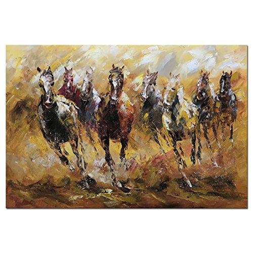 (Metuu Oil paintings, Running Horse Paintings African Landscape Wild Animal Modern Home Decor Wall Art Painting Wood Inside Framed Hanging Wall Decoration Abstract Painting Ready to hang 24x36inch)