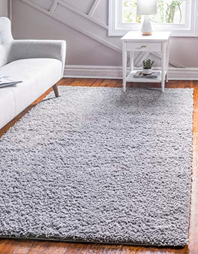 Unique Loom Davos Shag Collection Contemporary Soft Cozy Solid Shag Sterling Area Rug 5' 0 x 8' 0