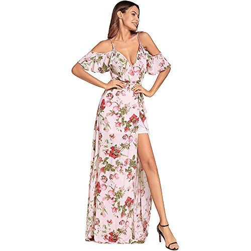 stampa europea abito SYT alta con vita americana Dress sexy donna V e con scollo Imbracatura pink a a nxqgwx1OB