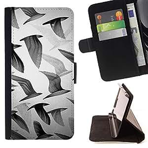 For Samsung Galaxy Note 3 III Case , Gaviotas Negro Blanco Profundo Arte- la tarjeta de Crédito Slots PU Funda de cuero Monedero caso cubierta de piel