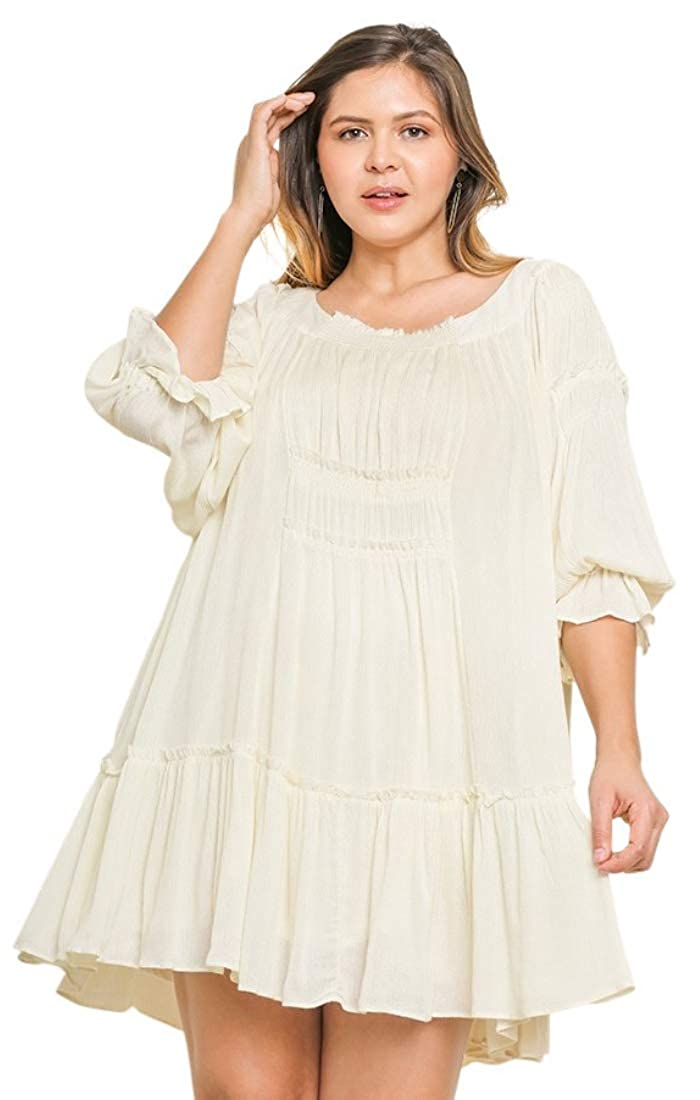 Umgee Plus Size Boho Clouds Smocked Pleated Flowy Ruffle ...