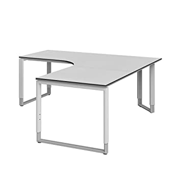 Pharao24 Höhenverstellbarer Schreibtisch In L Form Weiß Amazonde
