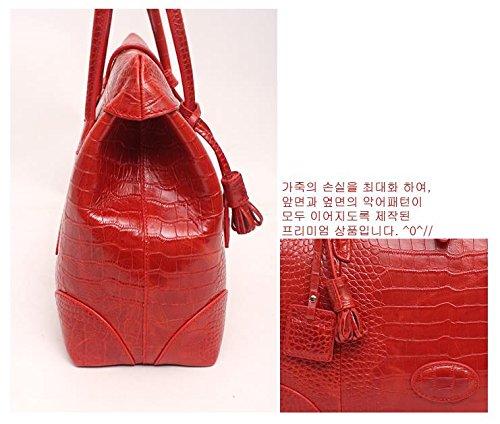 Fashion Crocodile Pattern Leather Shoulder Handbag 4 Color (Red) by PRISTINE&BB (Image #6)