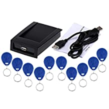 KKmoon RFID 125KHz Proximity Smart EM Card ID Reader Win8/Android/OTG Supported R10D with Keys Cards