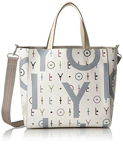 Oilily Jolly Letters Handbag Mhz, Bolso Mujer, Blanco (Offwhite), 13x25x36 cm (B x H T)