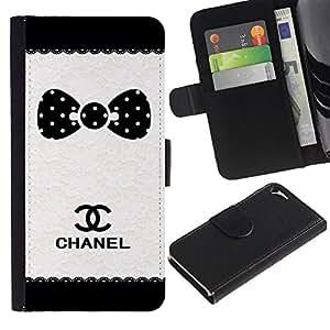 A-type (Dot Brand White Black Pattern) Colorida Impresión Funda Cuero Monedero Caja Bolsa Cubierta Caja Piel Card Slots Para Apple iPhone 5 / iPhone 5S