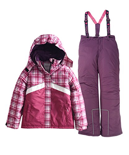 Hiheart Girls' Winter Warm Snowsuit Hooded Snowwear Jacket + Pants 2 PCS Set Purple 9-10 Years