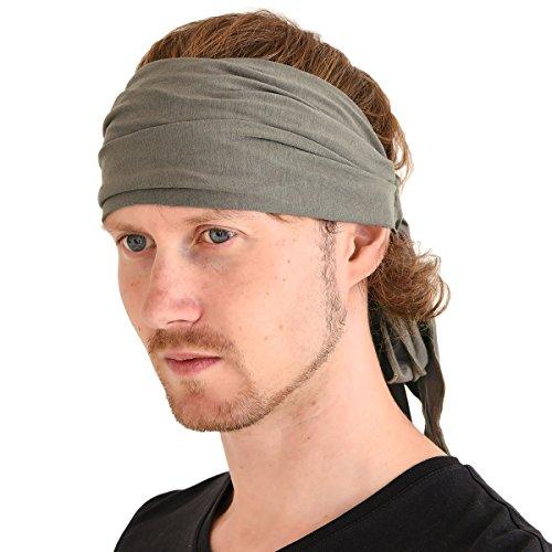 CHARM Men Hippie Japanese Headband - Women Hair Band Boho Bohemian Head Wrap Pirate Bandana Charcoal Gray -