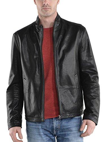 Fit Pelle Uomo Outwear Cappotto Giacche Moto Biker Slim Auk059 In Black Da Giacca Oqp68