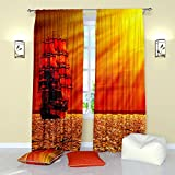 Red Curtains Collection by Factory4me Glow. Window Curtain Set of 2 Panels Each W52 x L96 Total W104 x L96 inches Drapes for Living Room Bedroom Kitchen Review