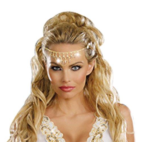 Halloween Costumes Greek Goddess Accessories (Dreamgirl Women's Glittering Rhinestone Headpiece, Gold, One)