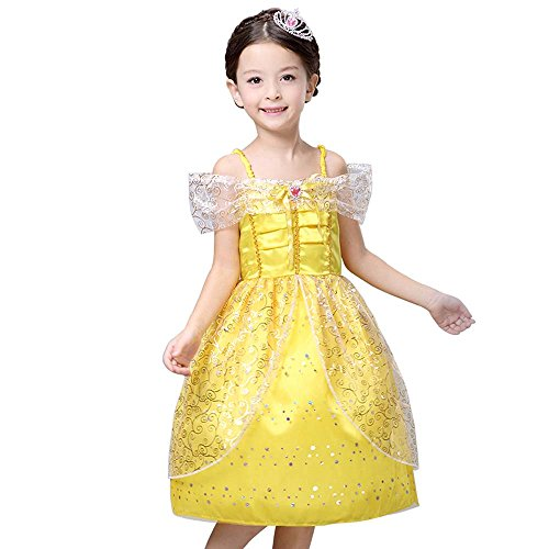 Disney Princess Belle Inspired by Beauty and the Beast Dress Costume for Girls 4-10 (4 - M) (M&m Dress Costume)