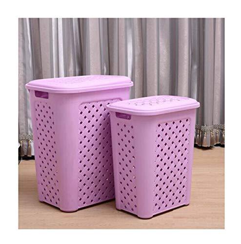 Zhjslndfjhj Dirty Clothes Basket Plastic Hollowed Out Dirty Clothes Storage Basket Debris Storage Basket 60L+36L 2 Packs Lavender Multicolor Optional (Color : - Basket 60l