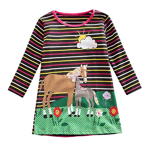 Jshuang❤️(3-7Y) Toddler Baby Kids Girls Rainbow Stripe Horse Flowers Party Dresses Clothes(Brown)
