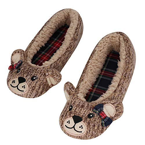 NERBEY Winter Cute Slippers for Women Shoes Memory Foam Indoor Elegant Cashmere Knitted Ballerina House