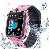 ZQTECH Smart Watch for Kids GPS Tracker - IP67 Waterproof Smartwatches with SOS Voice Chat Camera Math Game Alarm Clock Digital Wrist Watch Smartwatch Girls Boys Birthday Gifts (02 Blue)