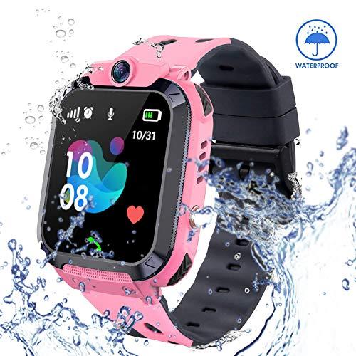 zqtech Smart Watch for Kids GPS Tracker - IP67 Waterproof Smartwatches with SOS Voice Chat Camera Flashlight Alarm Clock Digital Wrist Watch Smartwatch Girls Boys Birthday Gifts (04 Pink) (Best Iphone Flashlight App)