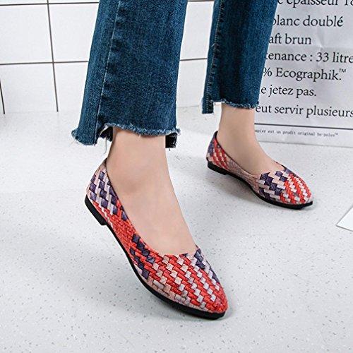 Beautyjourney Femmes Chic Occasionnelles Fille Femme Chaussures Mélangée Pediped Rouge Couleurs Jolies Sandales Orthopediques Plates 1qtwF1r