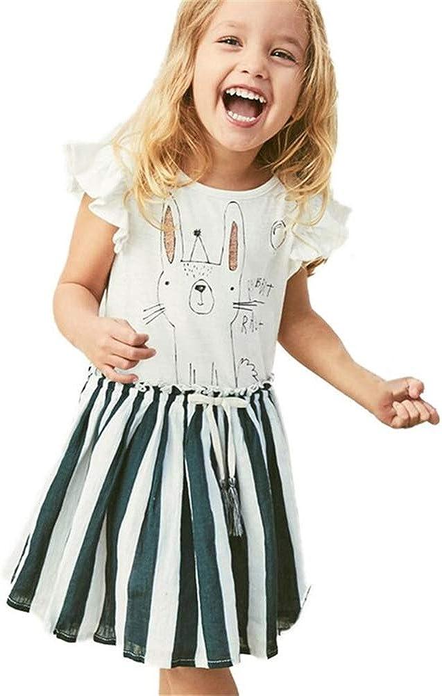 HILEELANG Little Girls Cotton Dress Short Sleeves Casual Summer Striped Basic Shirt Jumpskirt Playwear Dresses