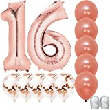 Jumbo 40 Inch Mylar Foil Rose Gold Balloon Number 16, with 5 Confetti Balloons and 5 Rosegold Latex Balloons and Bonus String for Happy Birthday Party Supplies