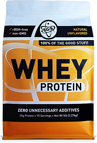TGS All Natural 100% Whey Protein Powder 5lb - Unflavored, Undenatured, Unsweetened - Low Carb, Soy Free, Gluten Free, GMO Free