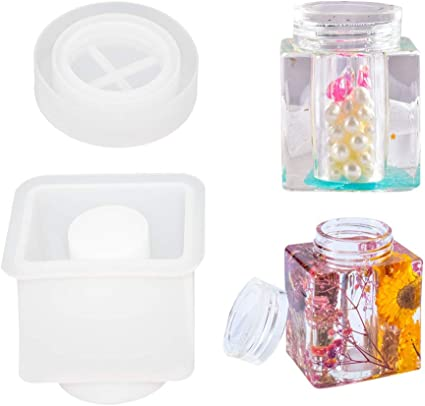 DIY Crystal Jewelry Jar Resin Casting Mold Trinket Storage Jar Epoxy Resin Container Candy Box Flower Pot Mold Pen Holder Mold Box Resin Molds with Lids