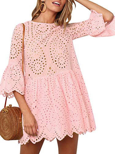 Simplee Women's Elegant Half Flare Sleeves High Waist Hollow Out Mini Dress (10, Pink 02) ()
