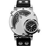 Men's Unique Analog Watch, Luxury Fashion Dress Quartz Wrist Watches with Comfortable Leather Band Large Face Dual Dial Cool Design Two Time Zone Silver
