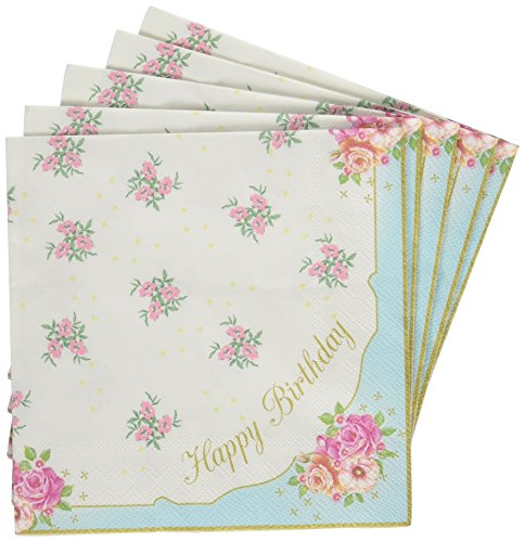 Talking Tables Truly Scrumptious Floral Happy Birthday Napkins for a Birthday or Tea Party, Multicolor (20 Pack)