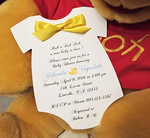 Set of 10 Rubber Ducky / Duck Baby Shower Invitations with Yellow Satin Bow - All Wording Customized - Boy or Girl Baby Shower]()