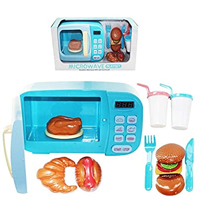 JAMOR Simulation Microwave Toys Small Appliances Toys Electric Light Rotating Simulation Kitchenware Cooking Cooking Oven Toys Kitchen Toys Chef Simulation (Blue): Office Products