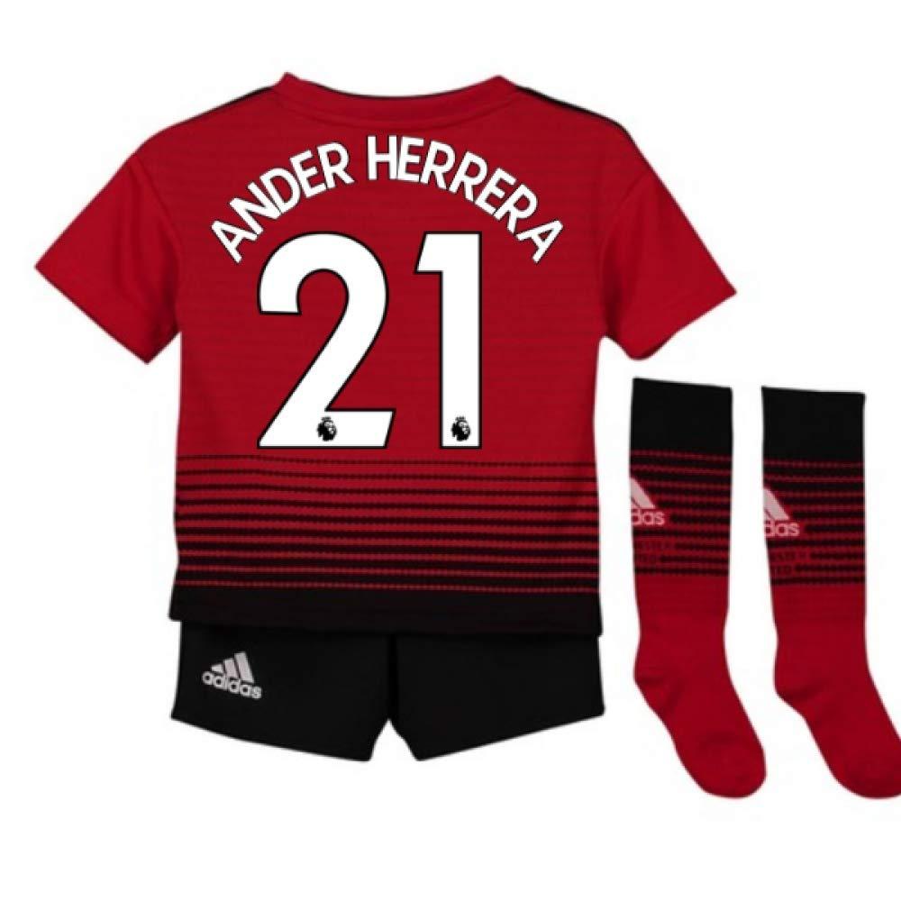 UKSoccershop 2018-2019 Man Utd Adidas Home Little Boys Mini Kit (Ander Herrera 21)