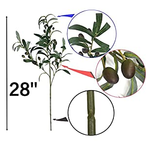 28-Inch Artificial Olive Plants Stems Branches Fake Plants Green Leaves Fruits Branch Leaves for Home Office ndoor Outside DIY-Wreath Decor 2