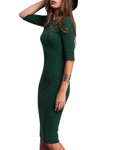 Vestido elegante de color liso para las mujeres, Vestido de media manga de cuello redondo delgado atractivo, vestido delgado, 2018 últimos moldes: ...