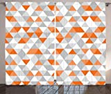 Ambesonne Geometric Decor Collection, Triangles Argyle Polygon Patterns Vibrant Colors Zig Zag Fashion Ornament Design, Living Room Bedroom Curtain 2 Panels Set, 108 X 84 Inches, Orange Grey White Review